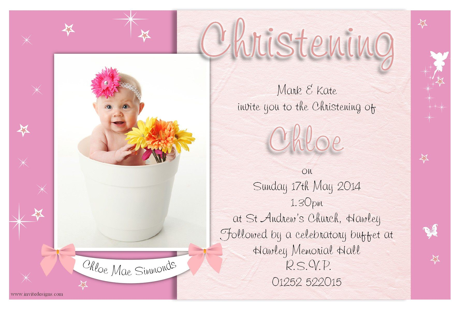 baptism invitation card for baby girl