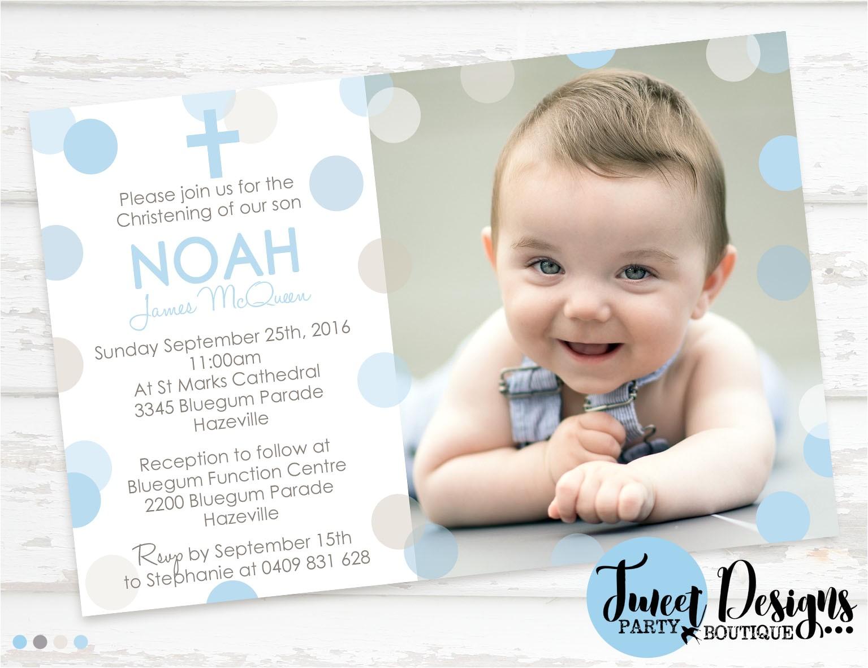 BOY CHRISTENING Invitation, Boy Baptism Invitation, Polka Dot Christening Invitation, Confetti Baptism Invitation, Boy Confetti Baptism Invitation