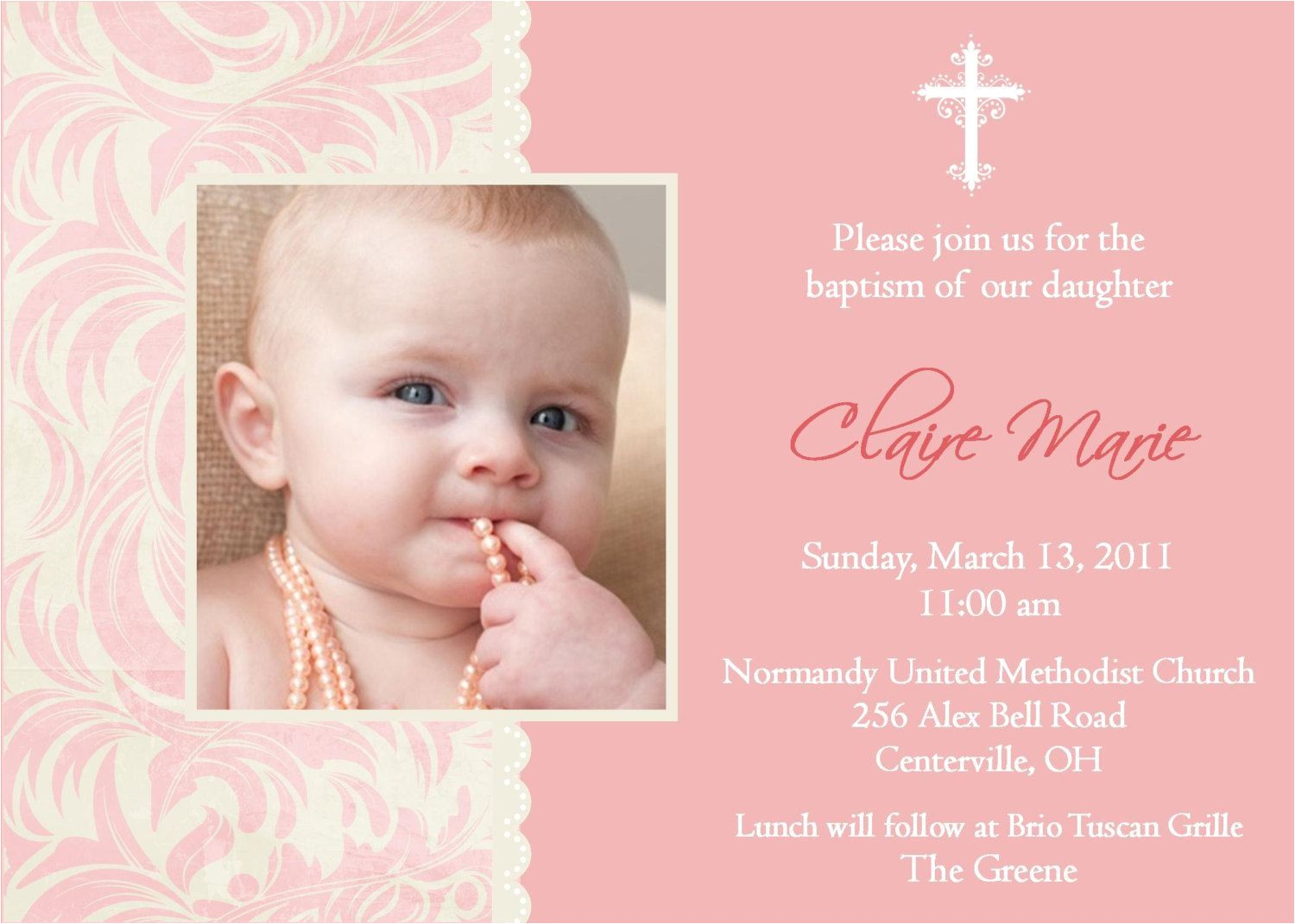Baptismal Invitation Samples Baptism Invitation Baptism Invitations for Girl