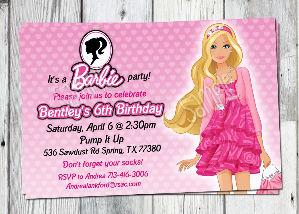 barbie birthday invitation printable