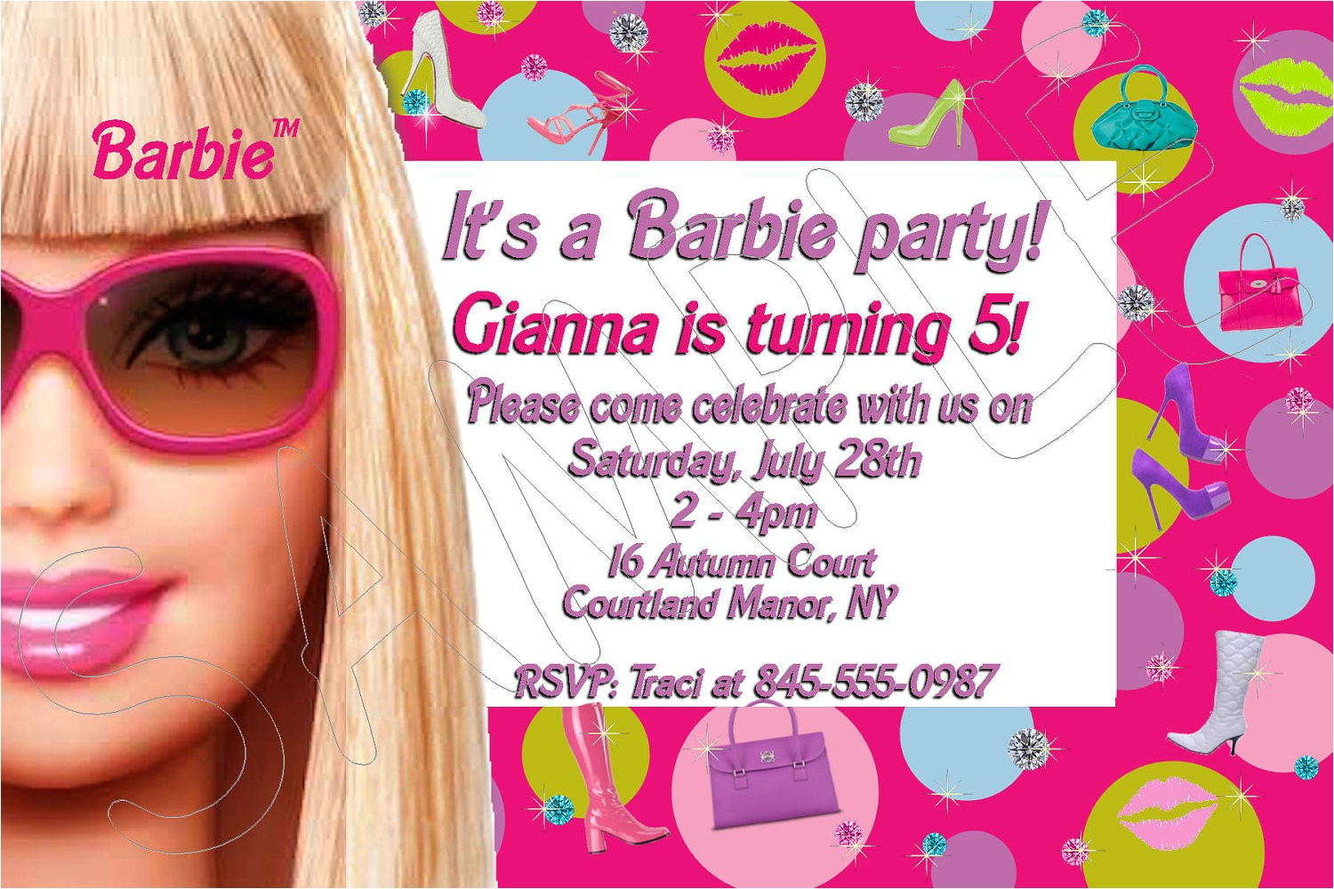 very cute 10 barbie birthday invitations inspiration for childrens