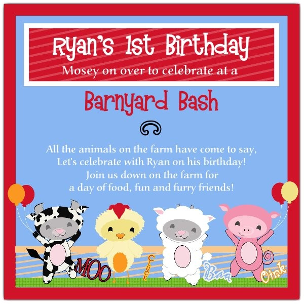 Barnyard Bud s Farm Birthday Invitations p 606 55 BY01