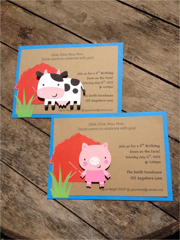 barnyard farm party invitations cow pig