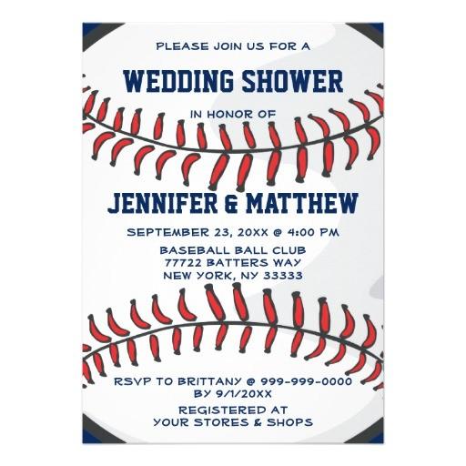baseball ball player fan wedding shower blue 2 invitation