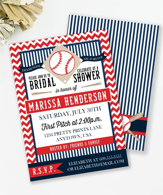 baseball bridal shower invitation