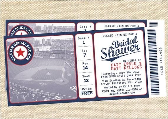 baseball bridal shower invitations set