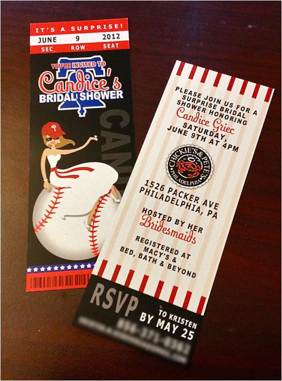 baseball ticket invitation bridal shower
