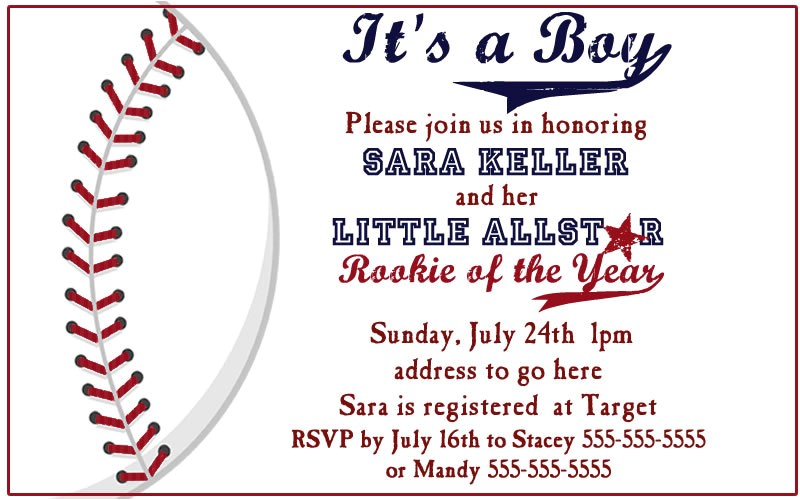 Baseball Invitations for Baby Shower Baseball Baby Shower Invitation