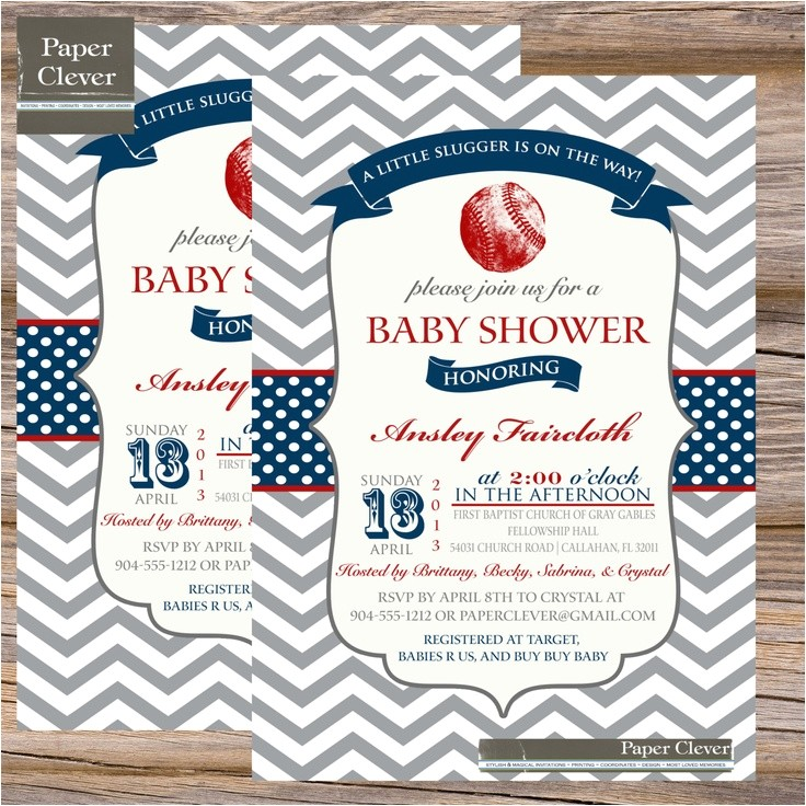 Baseball Invitations for Baby Shower Boys Baby Shower Invitation Vintage Baseball Red & Navy