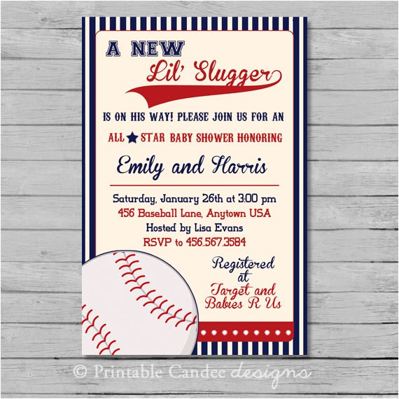 Baseball Invitations for Baby Shower Vintage Baseball Baby Shower Invitation Baseball