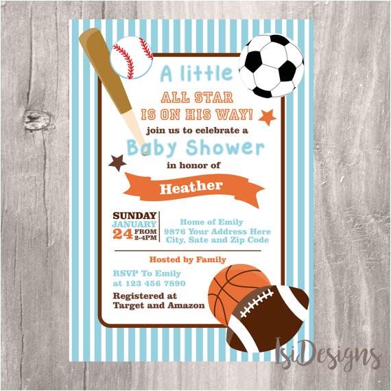 baby shower invitation sports themed
