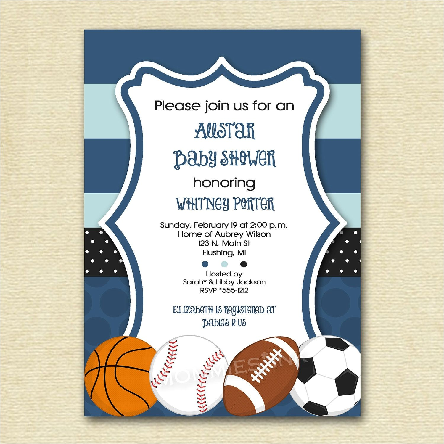 Basketball themed Baby Shower Invitations Mod Allstar Sports theme Baby Shower or Birthday Party