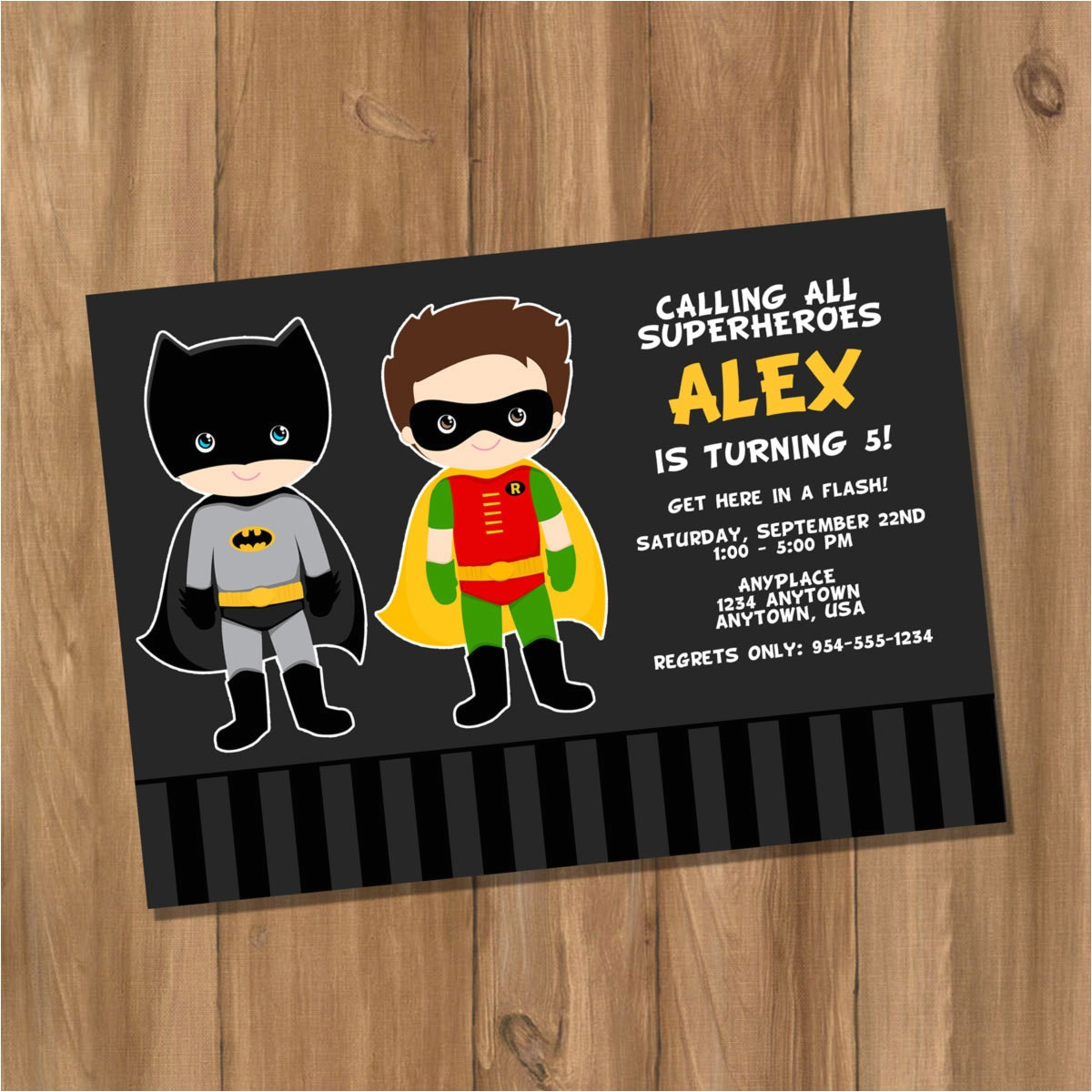 Batman and Robin Birthday Invitations Batman and Robin Inspired Super Hero Birthday Party Invitation