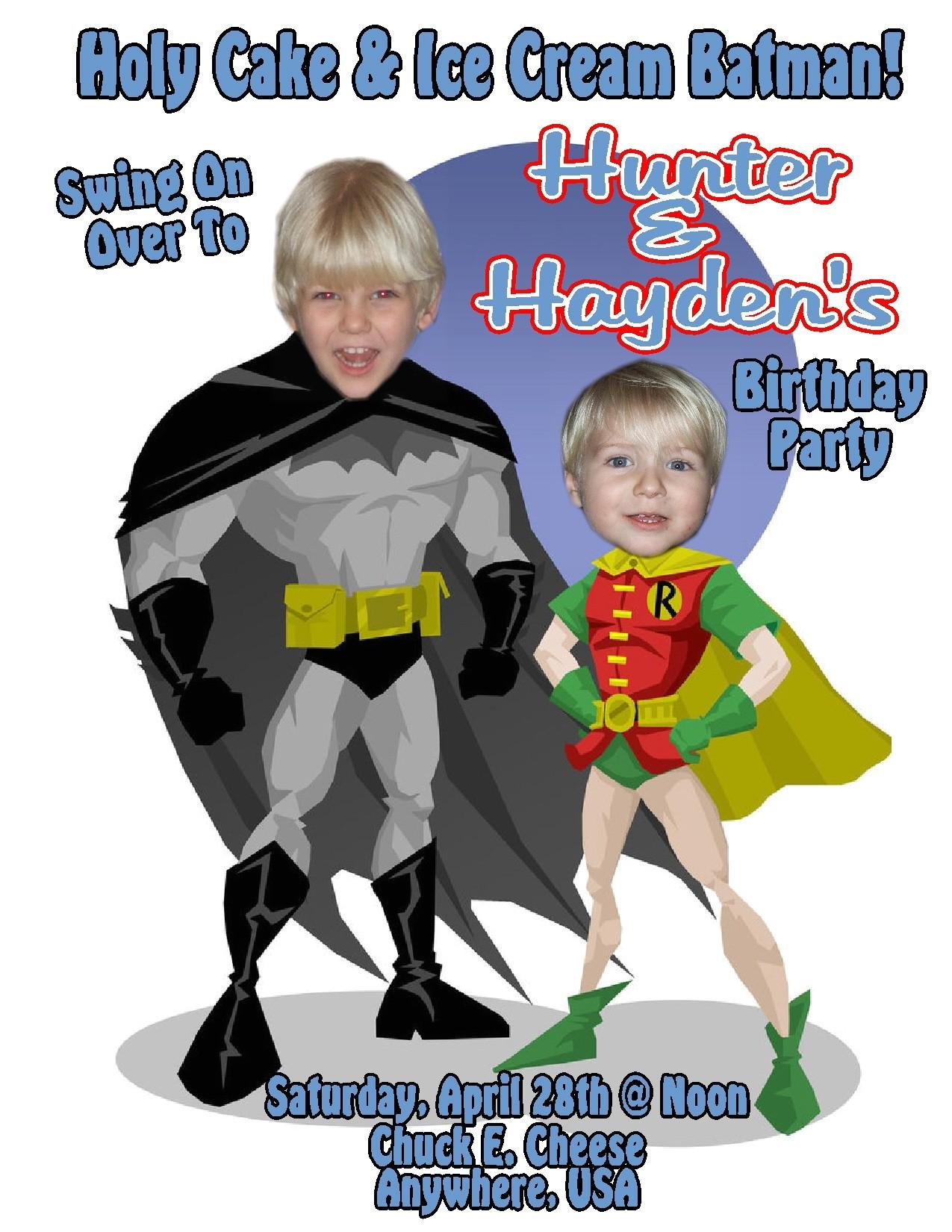 batman personalized birthday invitations