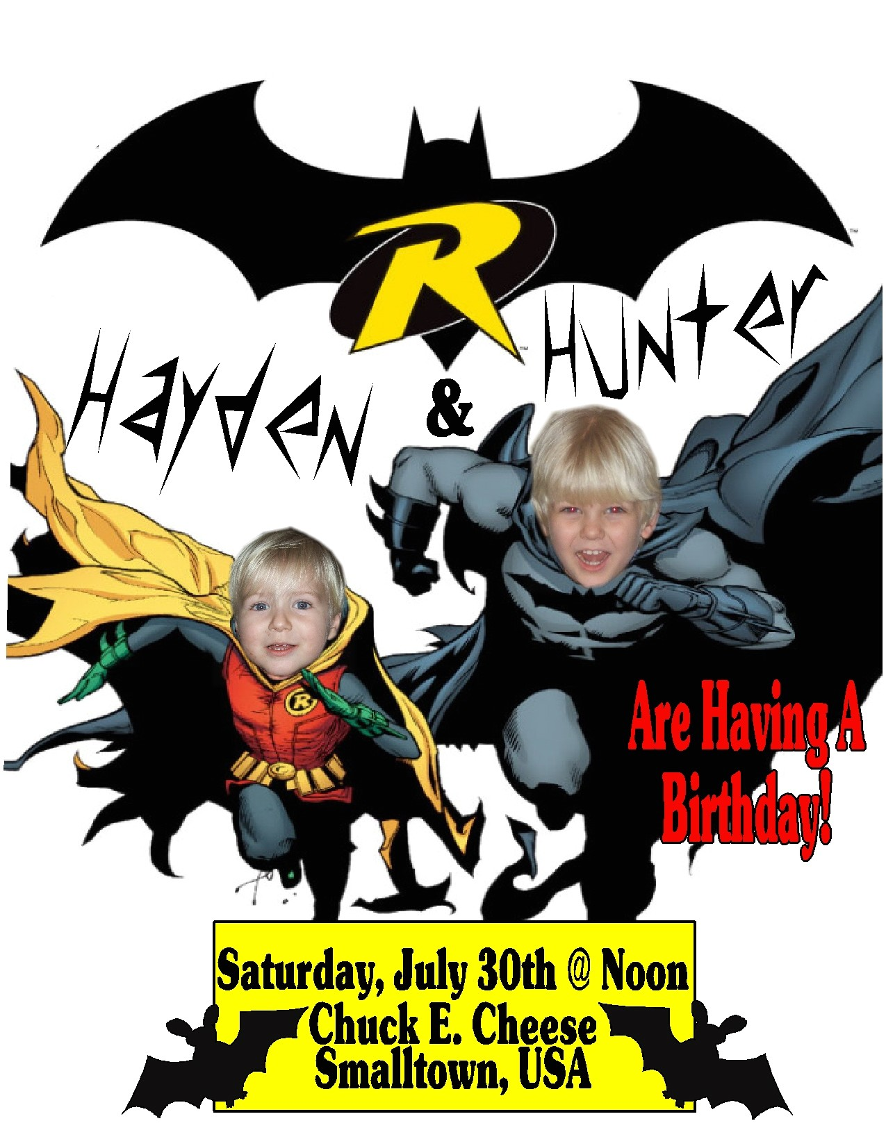 Batman and Robin Birthday Invitations Boy Birthday Welcome to Grand Creations by Meme