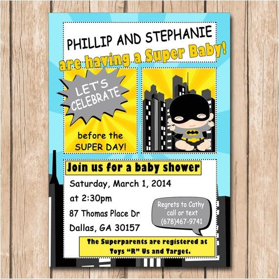 superhero baby shower invitation batman