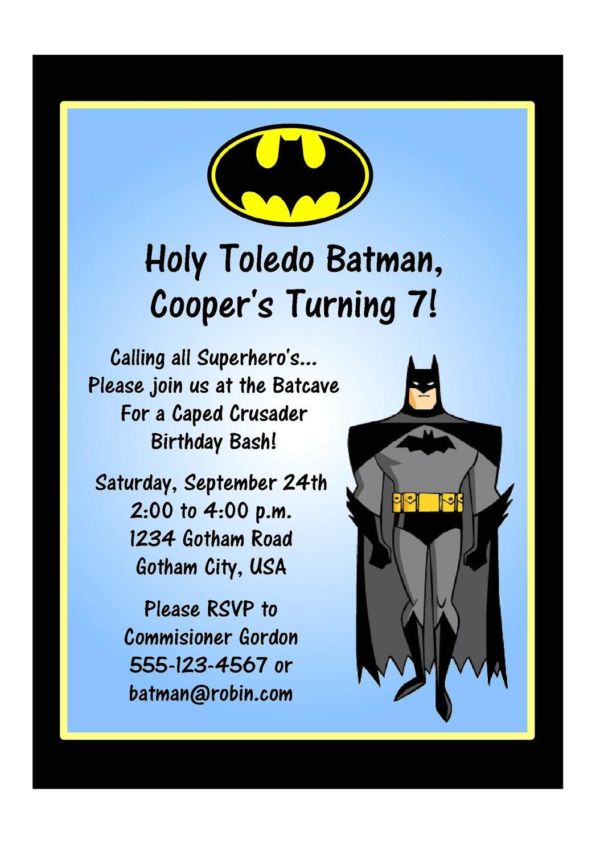 super heroes batman party invitations