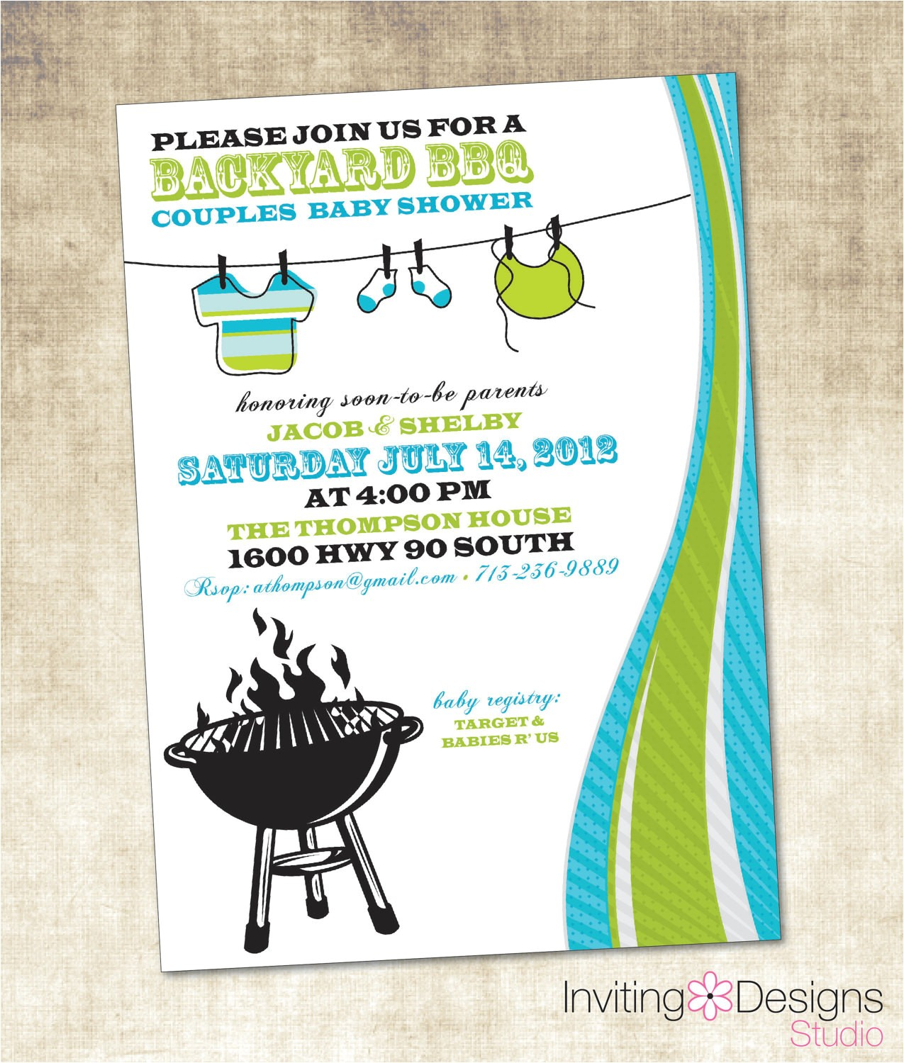 baby shower invitation bbq baby shower