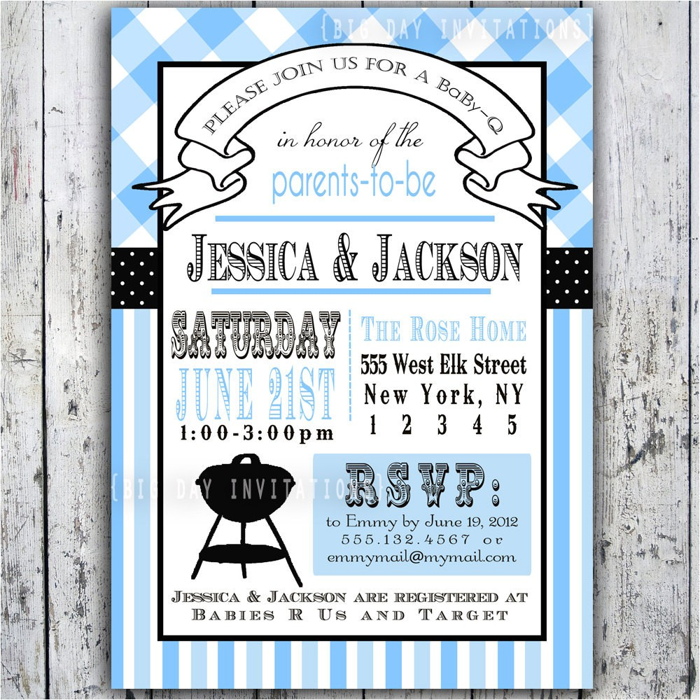 baby shower invitation baby q baby bbq