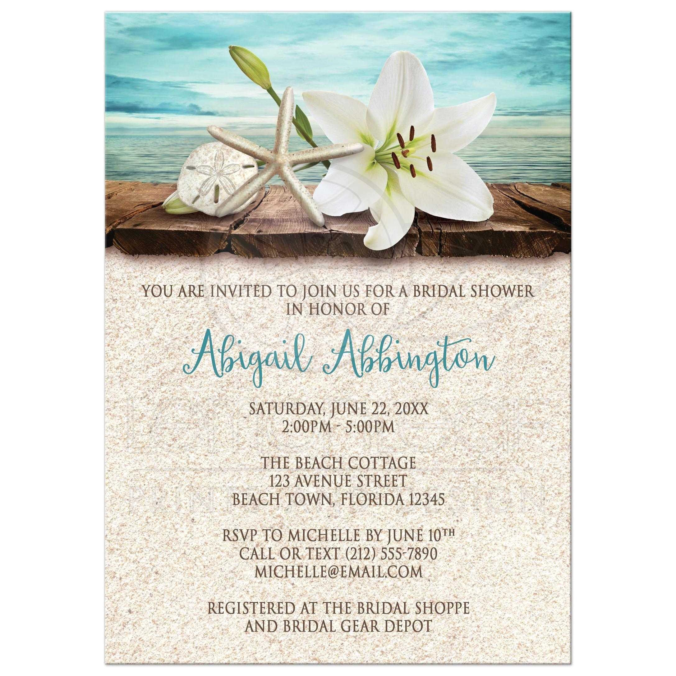 beach themed bridal shower invitation 2