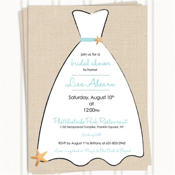 beach bridal shower invitations linen