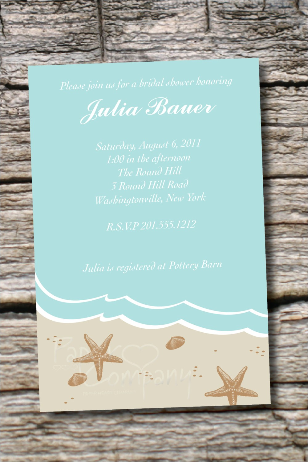 beach theme wedding shower invitations