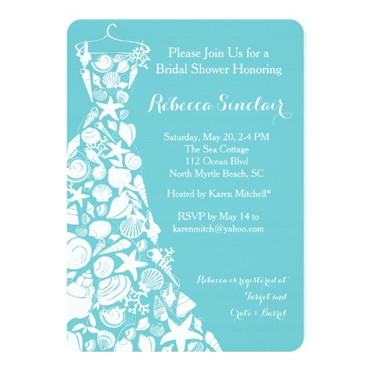 bridal shower invitation beach sea shell dress card
