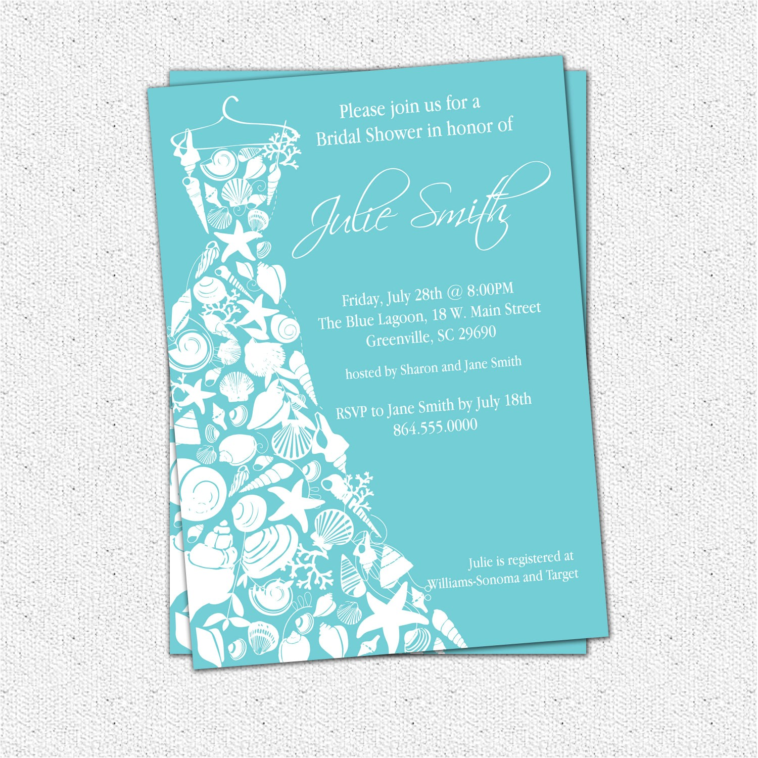 bridal shower invitation seashell dress