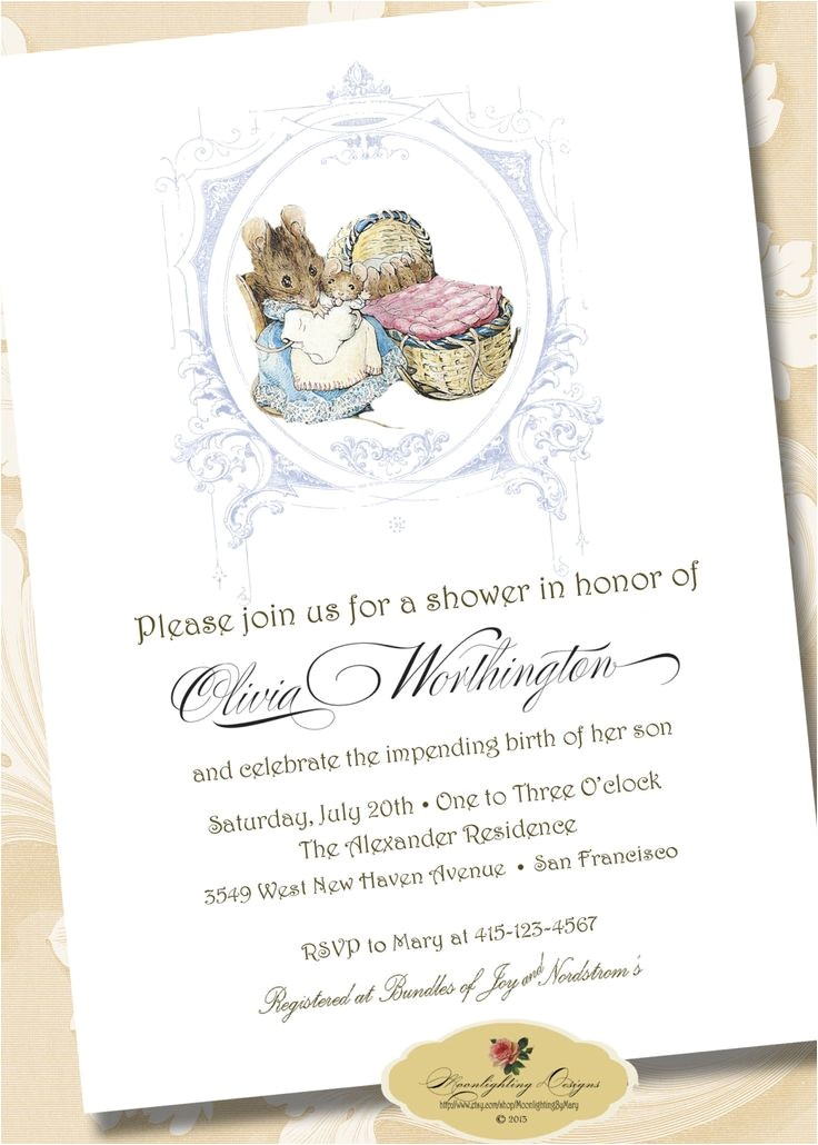 beatrix potter baby shower invitations