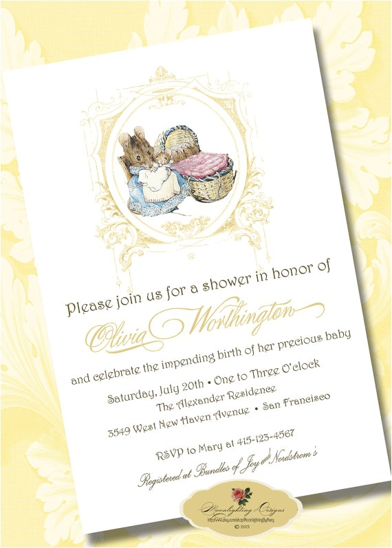 digital beatrix potter baby shower