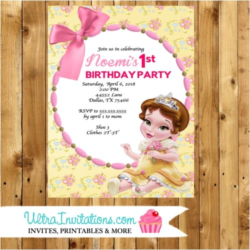 belle beauty baby shower invitations