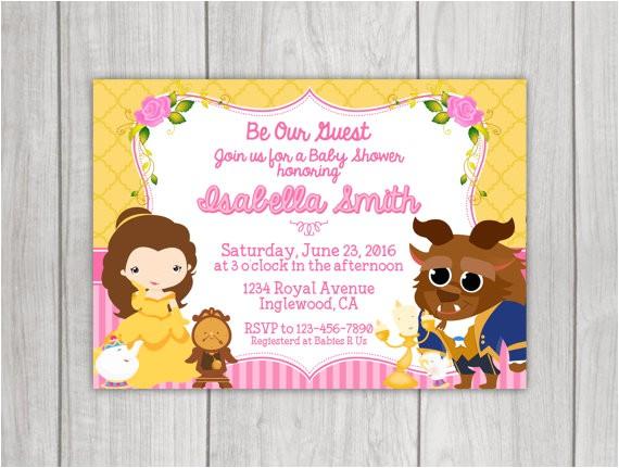 beauty beast baby shower invitation