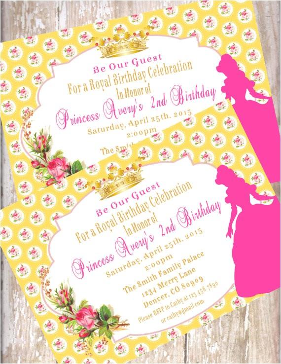 beauty beast birthday invitations printed envelopes 2