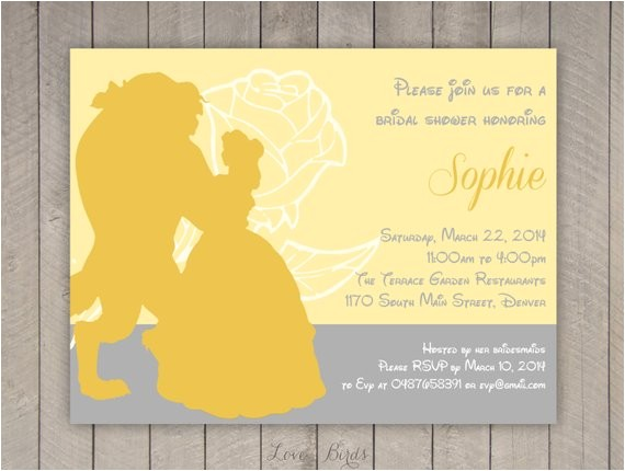 Beauty and the Beast Bridal Shower Invitations Bridal Shower Invitation Beauty and the Beast Digital File