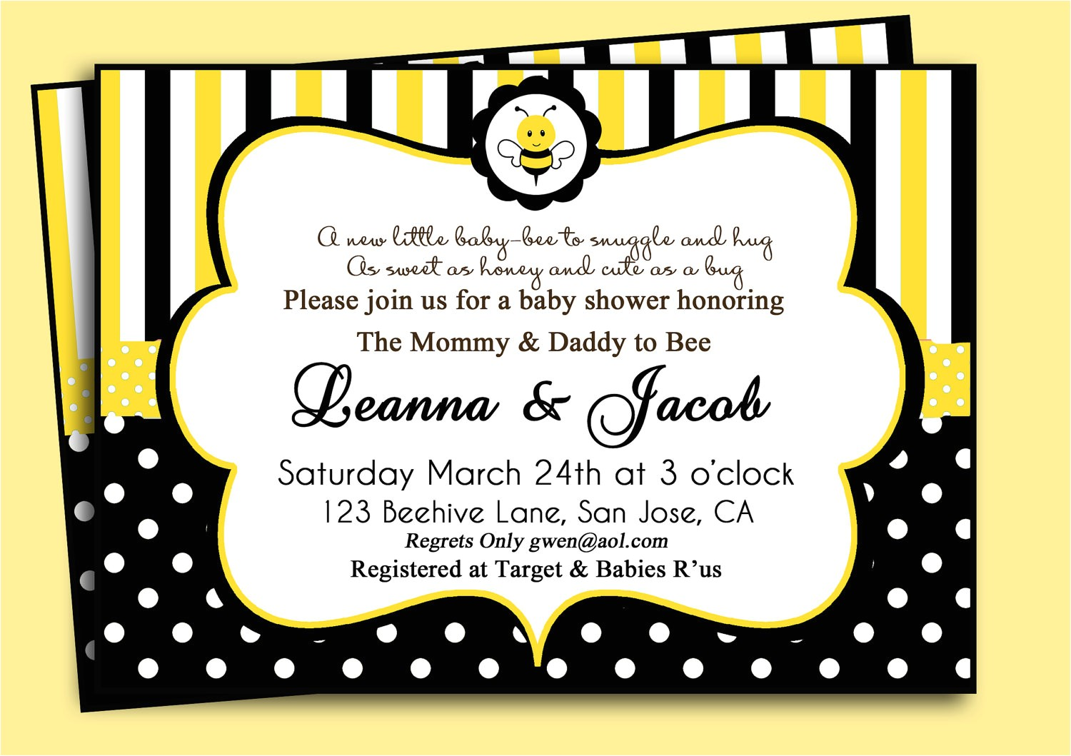 bee themed baby shower invitations
