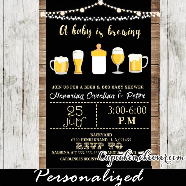 a baby is brewing invitation beer bbq shower personalized