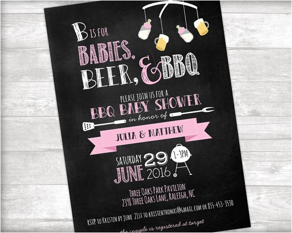 babies beer bbq baby shower invitation