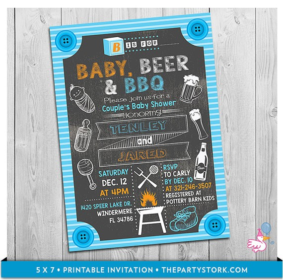 baby beer bbq baby shower invitation