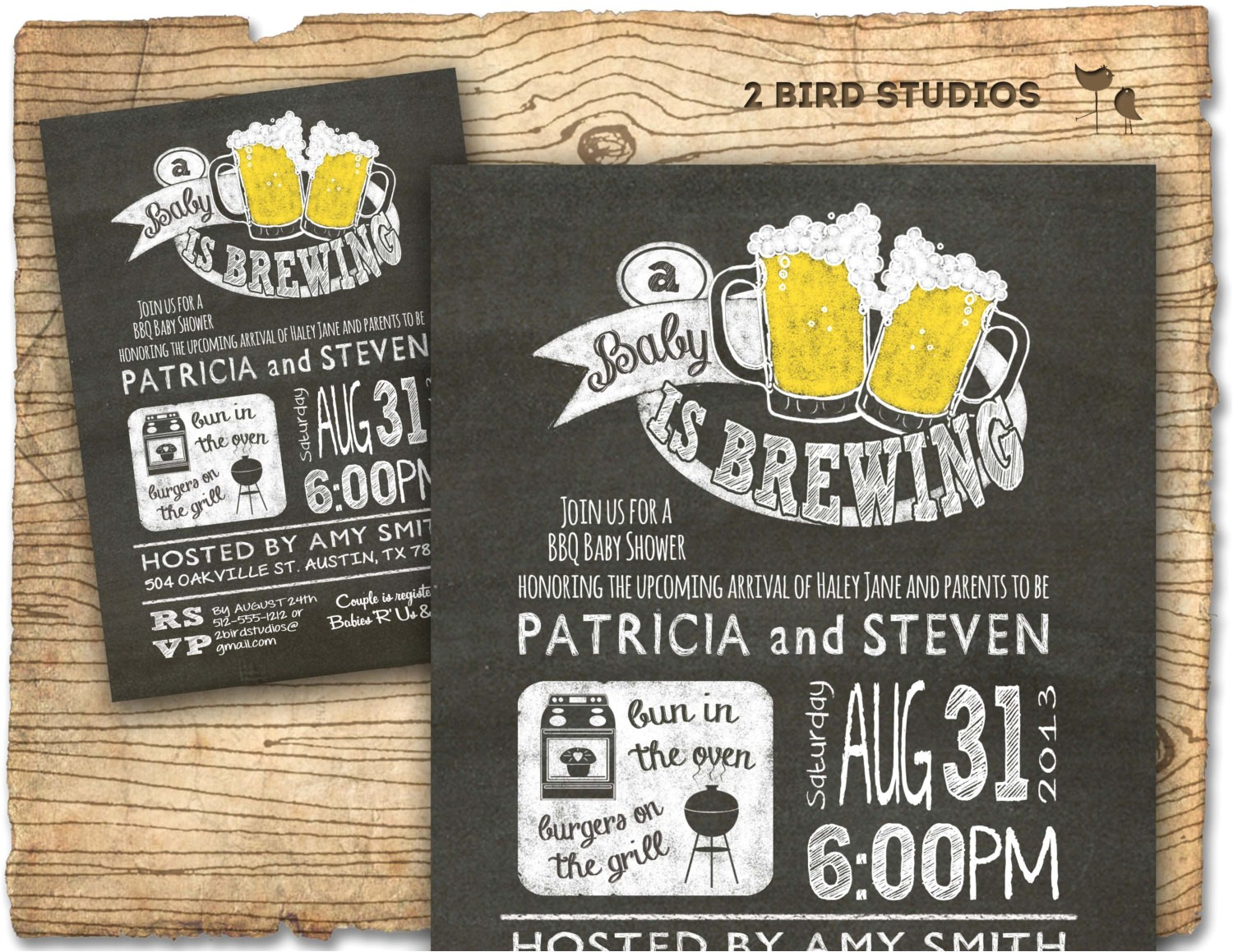 bbq beer baby shower invitation baby q