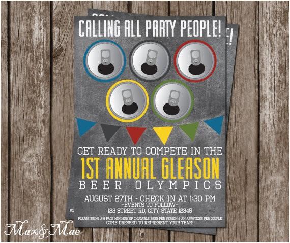 beer olympics invitation birthday