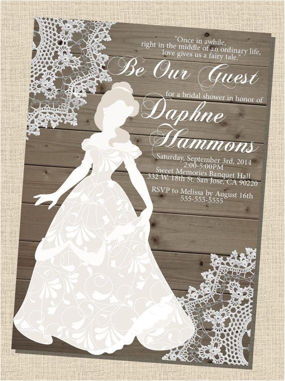 Belle Bridal Shower Invitations Rustic Wooden Vintage Disney Princess Belle Silhouette