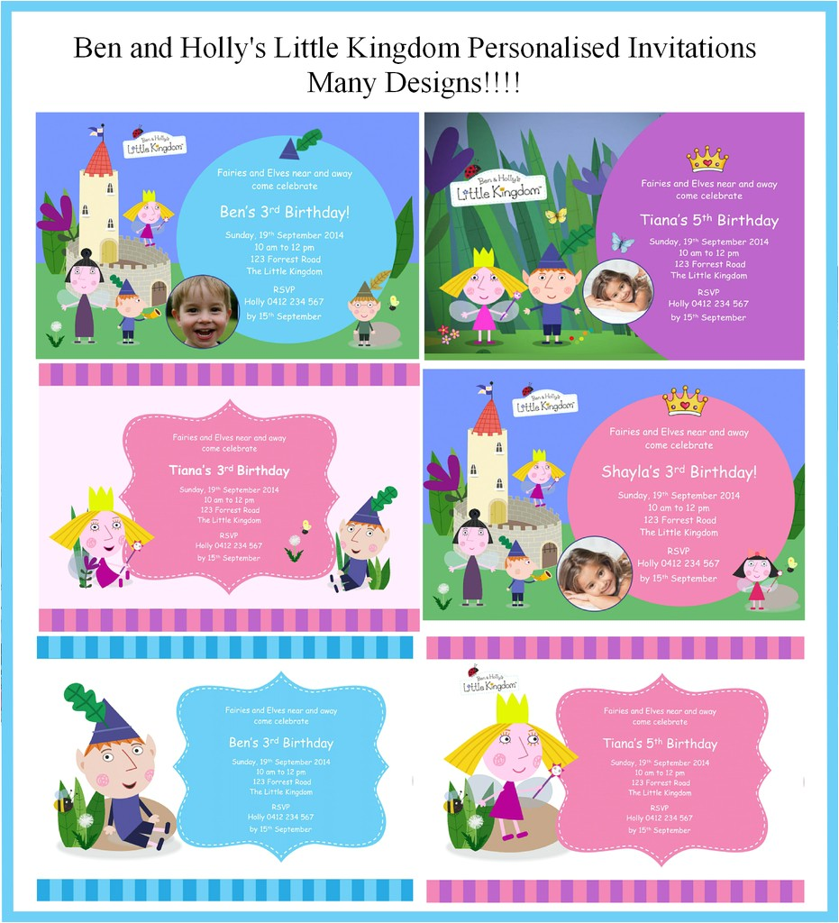 ben and holly party invitations