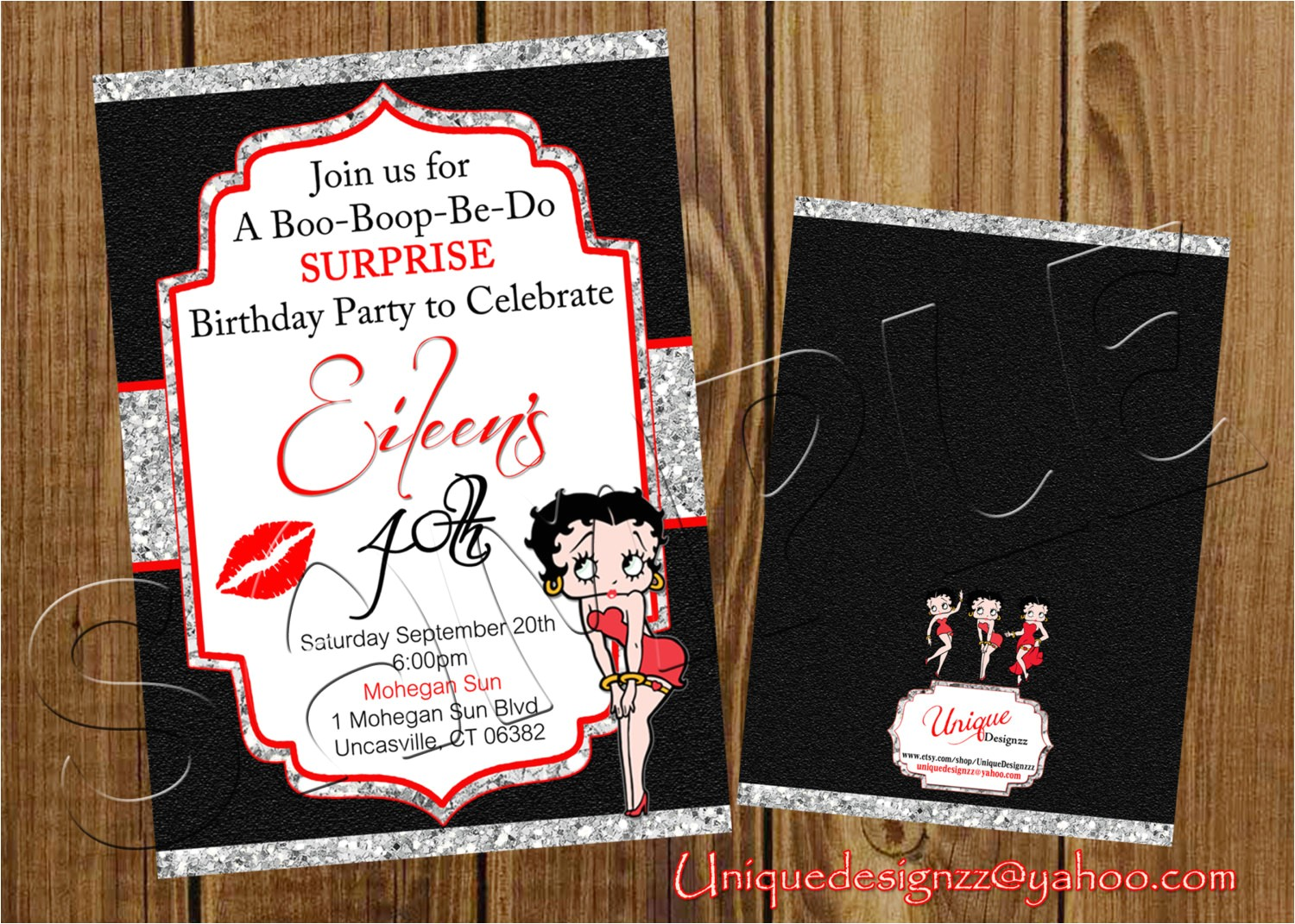 betty boop birthday invitation