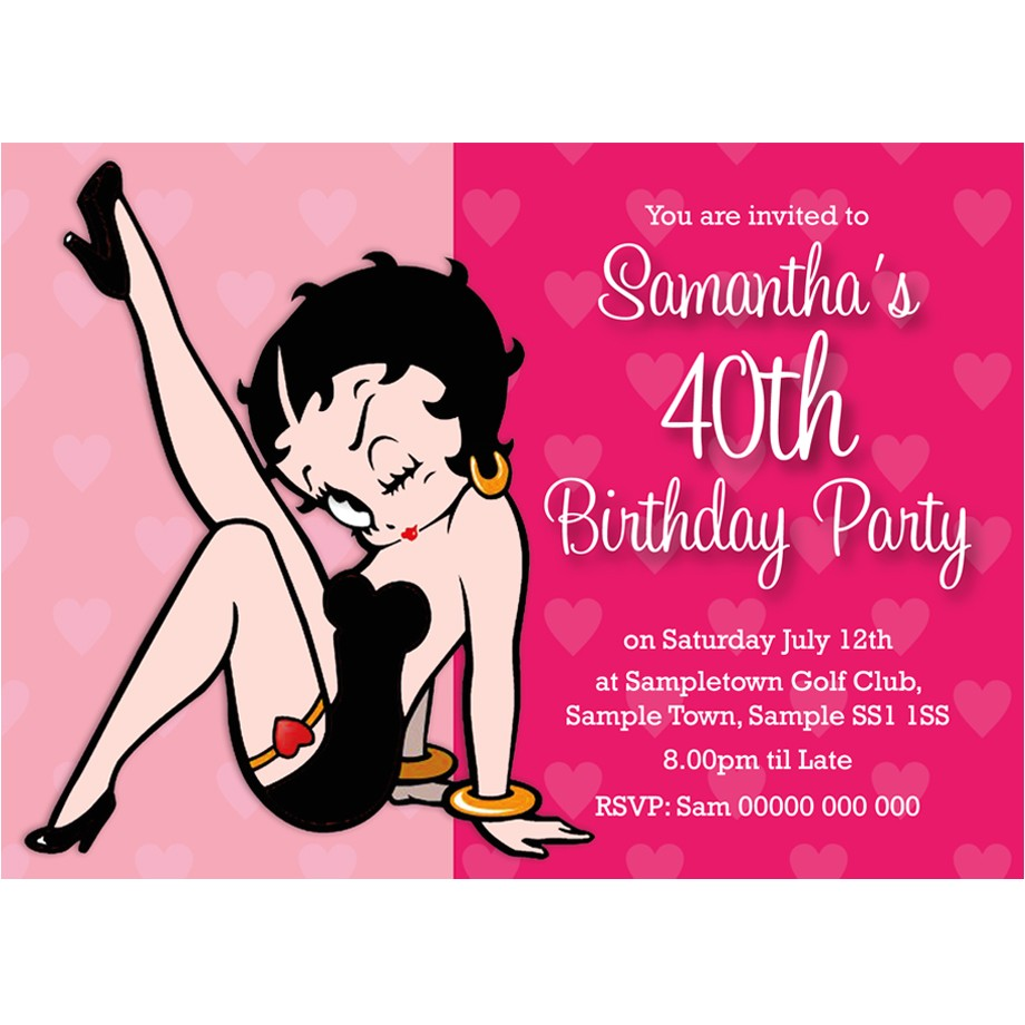 Betty Boop Birthday Party Invitations Personalised Birthday Party Invitations Betty Boop for Any Age