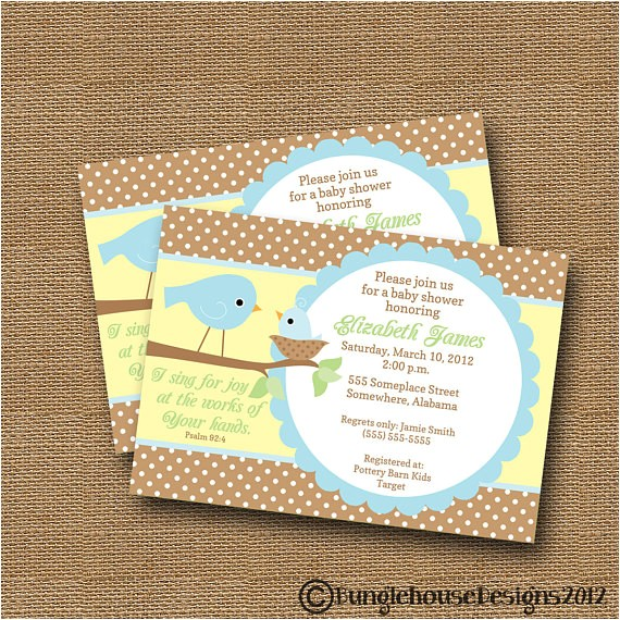 bird baby shower invitation diy