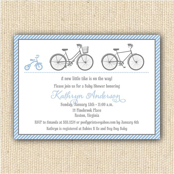 tricycle bicycle baby shower invitations