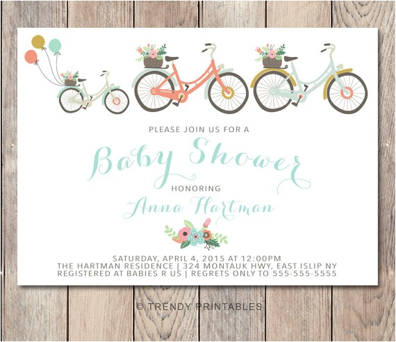 baby shower invitation bicycle baby