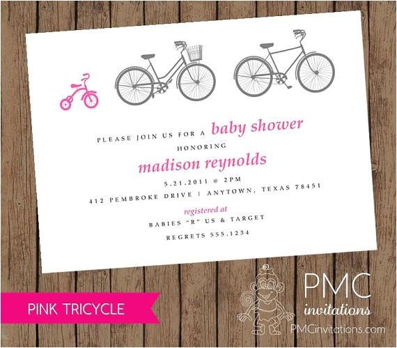 bicycle tricycle girl baby shower birth
