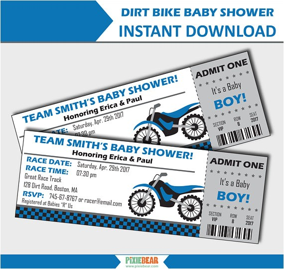 motorcycle baby shower invitation dirt