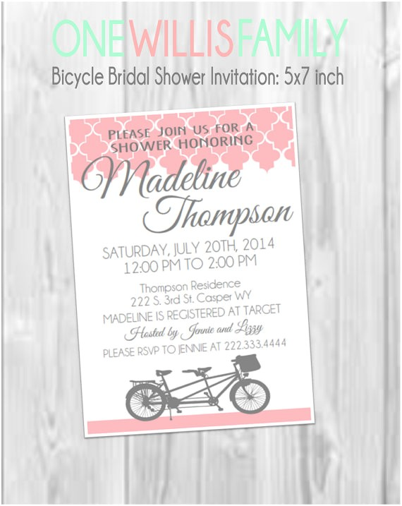 bicycle bridal shower invitation